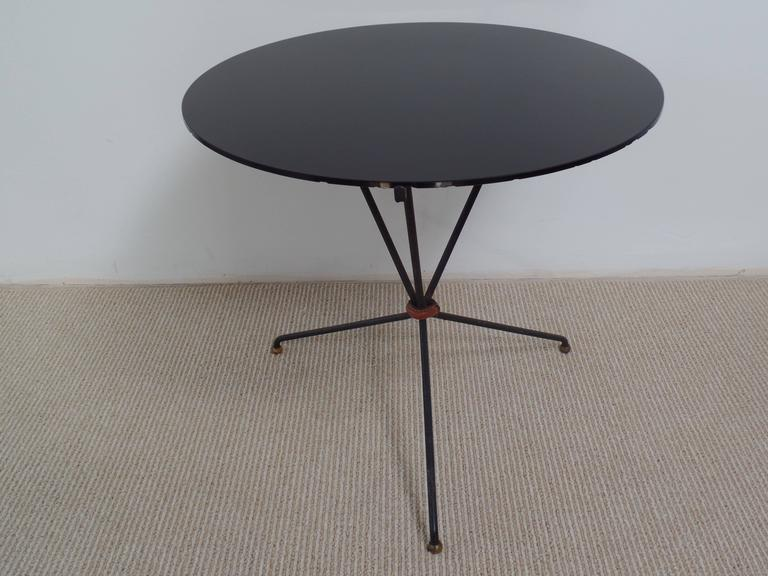 Mid-Century Modern Pair of French Mid-Century Iron and Leather Banded Side Tables, Jacques Adnet For Sale
