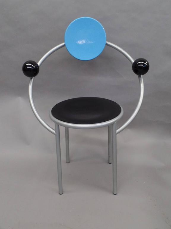 "Important Italian post-modern chair, the ""First Chair"" by Michele De Lucchi for the Memphis Design Group."