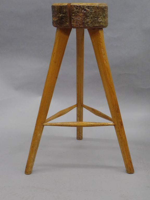 Three French Mid Century Modern Brutalist Style Wood Bar Stools For
