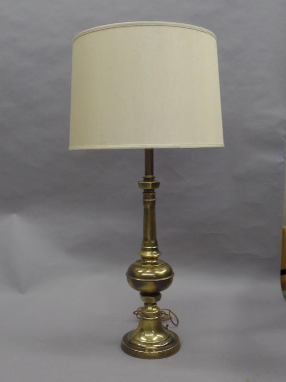 Pair of British Mid-Century Brass Baluster Table Lamps 3