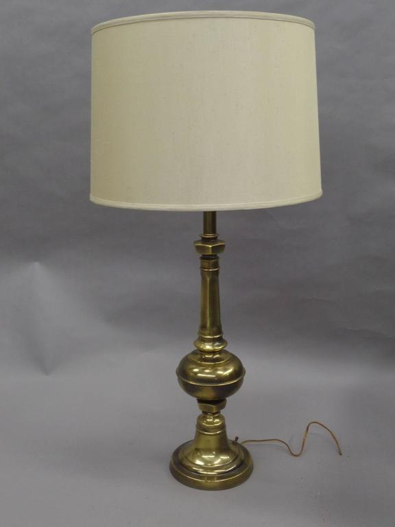 Pair of British Mid-Century Brass Baluster Table Lamps 2