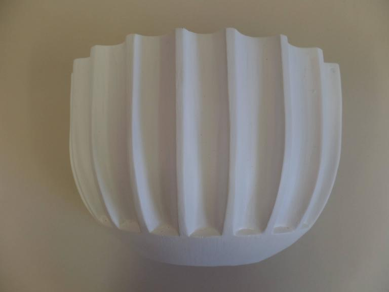 20th Century 2 Pairs of French Mid-Century Modern / Art Deco Style Plaster Wall Sconces For Sale