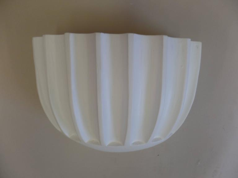 2 Pairs of French Mid-Century Modern / Art Deco Style Plaster Wall Sconces For Sale 1