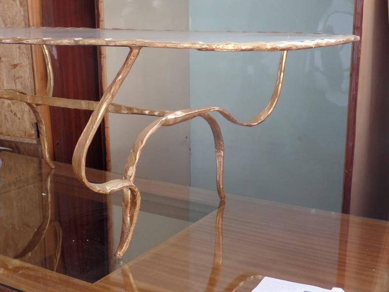 Rare Italian Mid-Century Modern Gilt Hammered Iron Coffee Table, Giovanni Banci For Sale 3