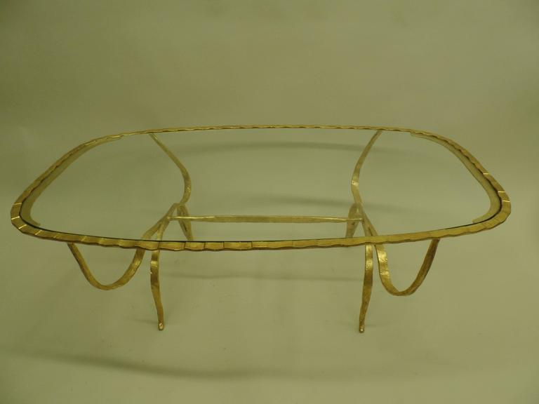 Rare Italian Mid-Century Modern Gilt Hammered Iron Coffee Table, Giovanni Banci In Excellent Condition For Sale In New York, NY