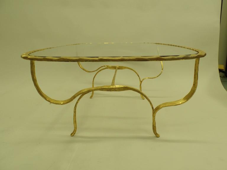 Rare Italian Mid-Century Modern Gilt Hammered Iron Coffee Table, Giovanni Banci For Sale 1