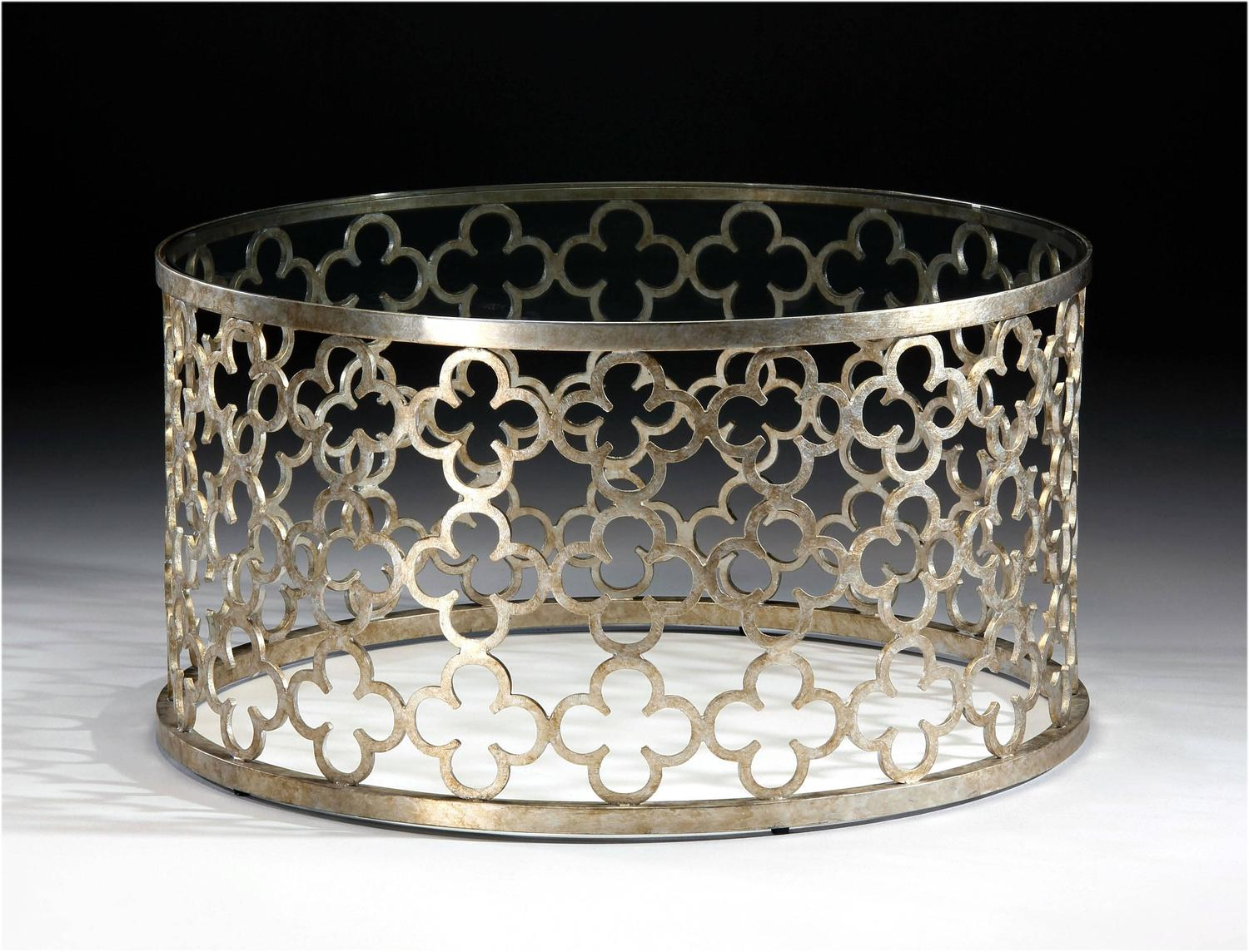 Large Round Italian Silver And Gilt Wrought Iron Coffee Table For Sale At 1stdibs