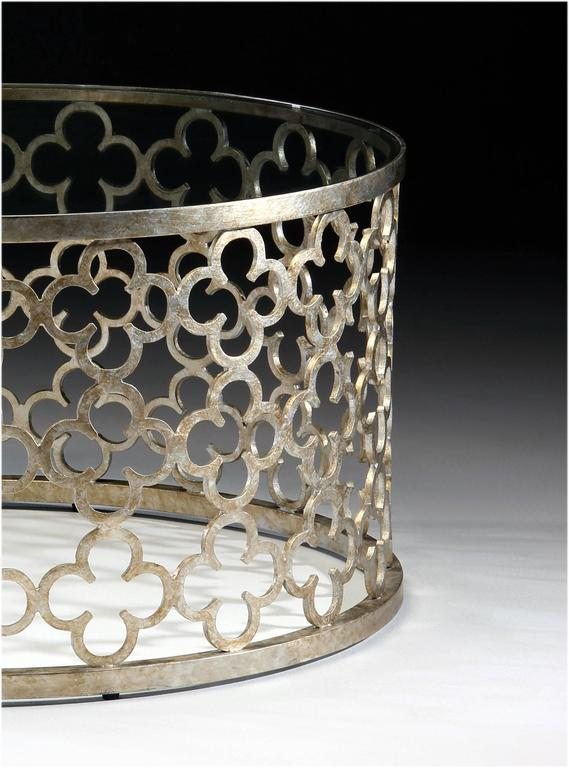 large round italian silver and gilt wrought iron coffee