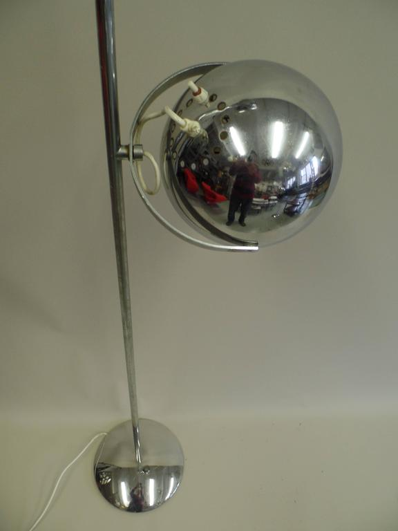 Pair of Large Italian Mid-Century Modern Nickel Floor Lamps by Reggiani 9