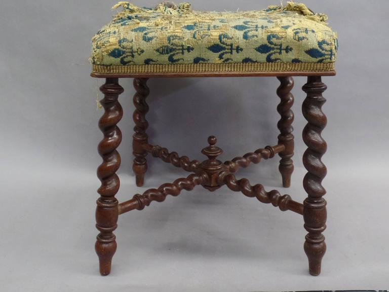 French 1940s Barley Twist Bench in the Style of Louis XIII 2