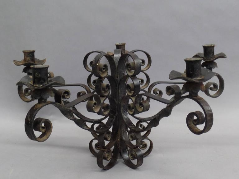 Spanish Wrought Iron Midcentury Candelabra, Centerpiece, Chandelier 4