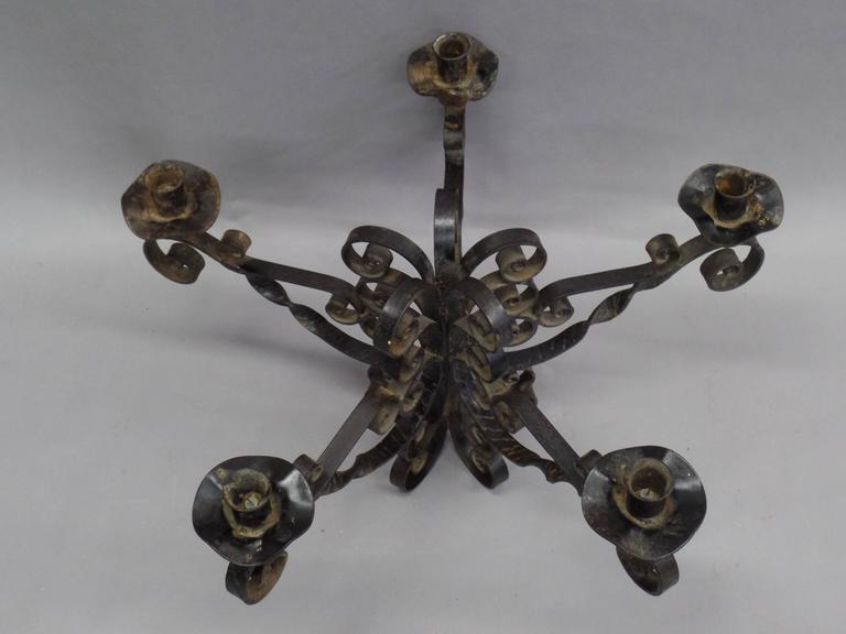 Spanish Wrought Iron Midcentury Candelabra, Centerpiece, Chandelier 5