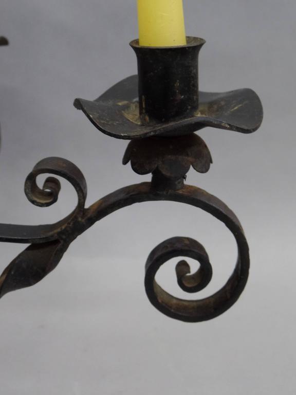 Spanish Wrought Iron Midcentury Candelabra, Centerpiece, Chandelier 9