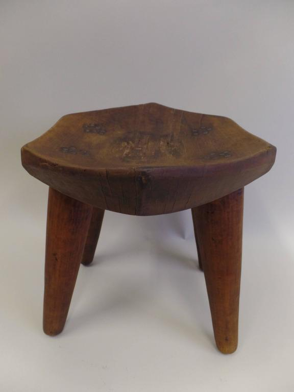 French 1930s Hand-Carved Modern Craftsman Stool 5