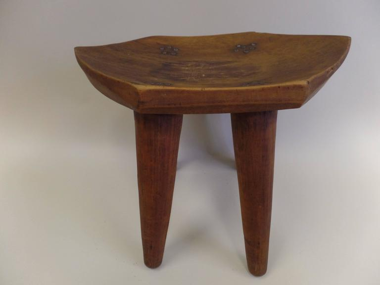 French 1930s Hand-Carved Modern Craftsman Stool 7