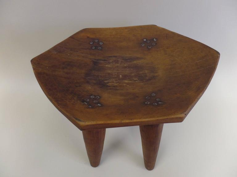 French 1930s Hand-Carved Modern Craftsman Stool 2