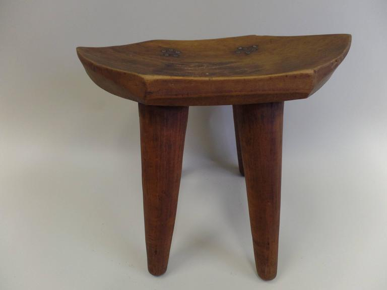 French 1930s Hand-Carved Modern Craftsman Stool 8