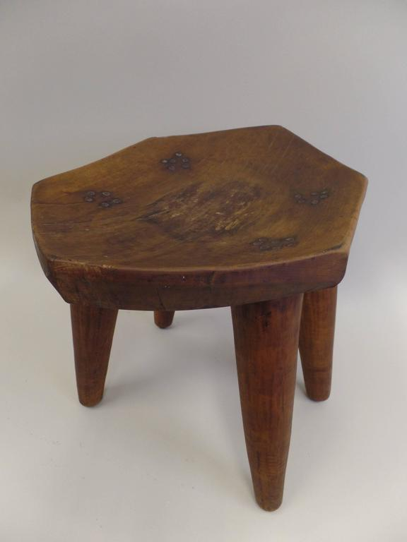 French 1930s Hand-Carved Modern Craftsman Stool 10