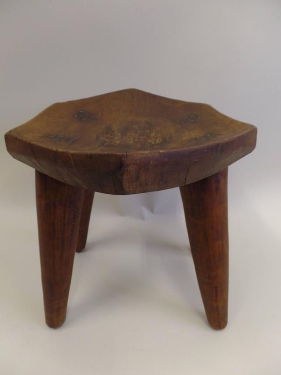 French 1930s Hand-Carved Modern Craftsman Stool 4