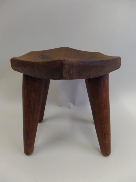 French 1930s Hand-Carved Modern Craftsman Stool 3