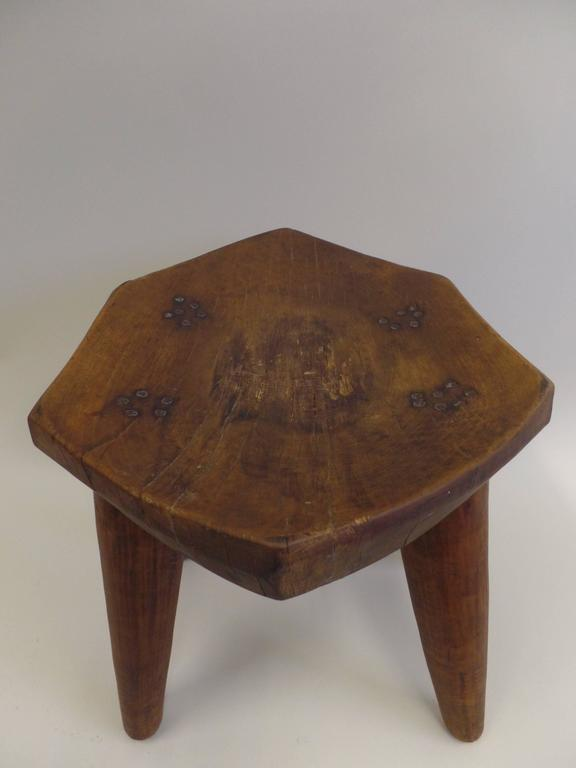 French 1930s Hand-Carved Modern Craftsman Stool 6
