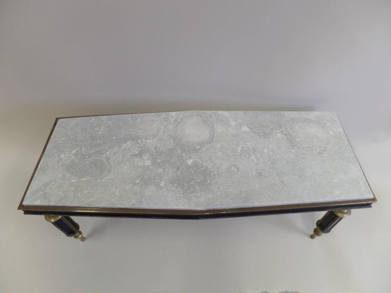 Rare French Mid-Century Gilt Bronze Coffee Table Attributed to Gilbert Poillerat For Sale 1