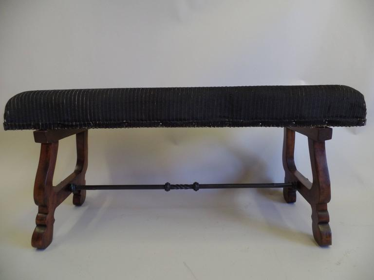Italian Modern Neoclassical Walnut and Hammered Iron Bench 2