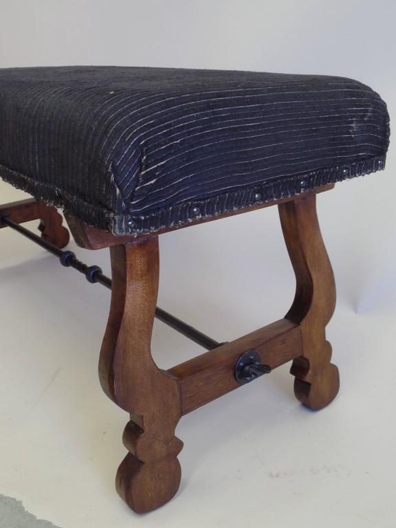 Italian Modern Neoclassical Walnut and Hammered Iron Bench 4
