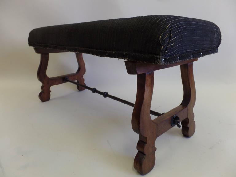 Italian Modern Neoclassical Walnut and Hammered Iron Bench 3