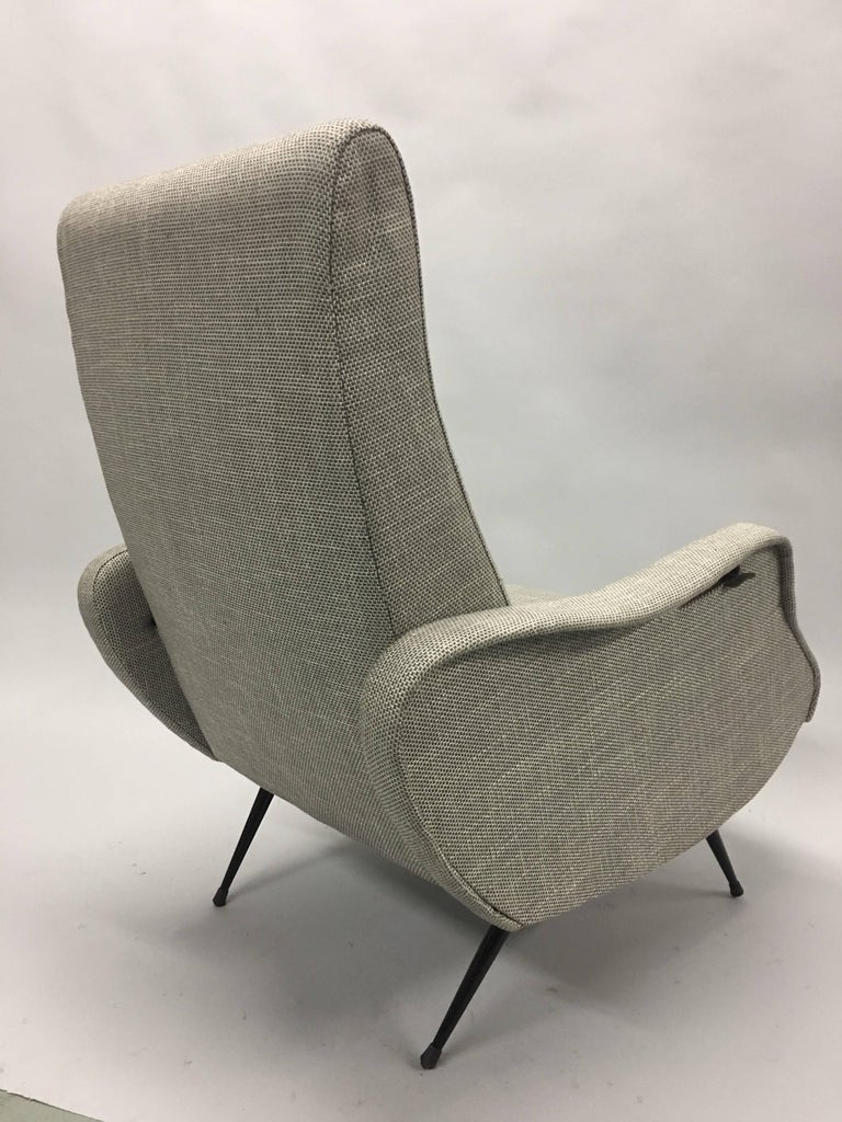 20th Century Pair Mid-Century Modern Lounge Chairs / Recliners Style Marco Zanuso, Italy,1950 For Sale