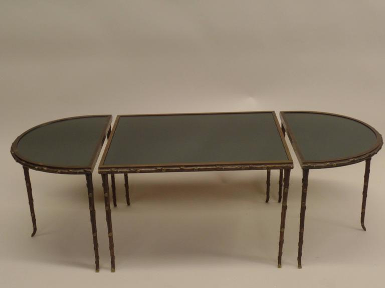 Gilt Bronze Faux Bamboo 3 Part Coffee Table by Maison Bagues 2