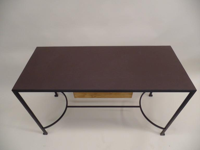 French Mid-Century Modern Iron & Leather Desk / Console Attr. Marc Duplantier For Sale 1