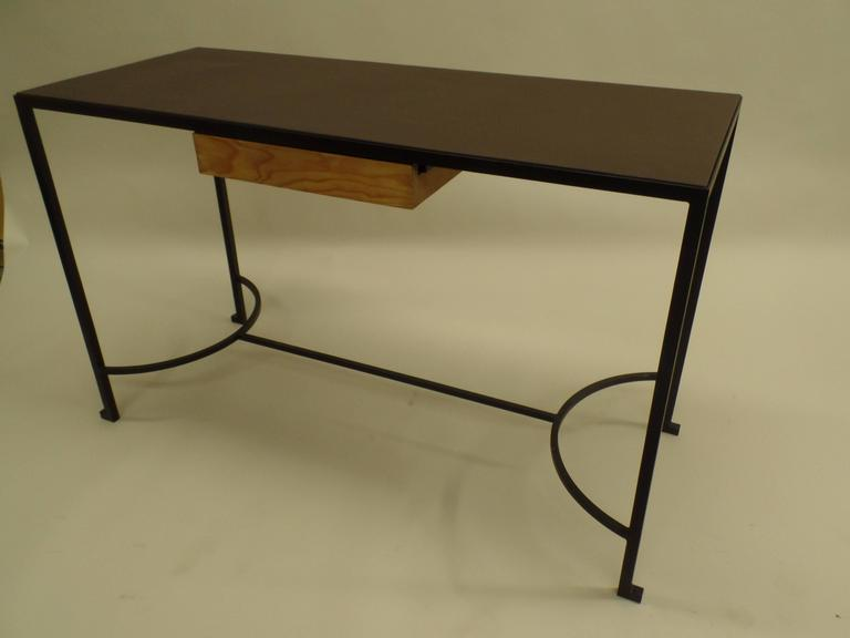 French Mid-Century Modern Iron & Leather Desk / Console Attr. Marc Duplantier In Excellent Condition For Sale In New York, NY