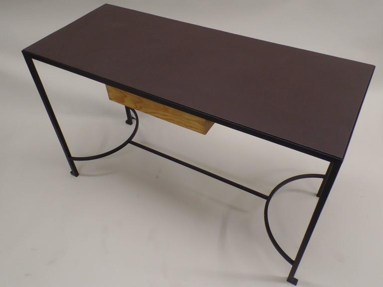 20th Century French Mid-Century Modern Iron & Leather Desk / Console Attr. Marc Duplantier For Sale