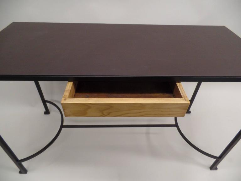 French Mid-Century Modern Iron & Leather Desk / Console Attr. Marc Duplantier For Sale 2