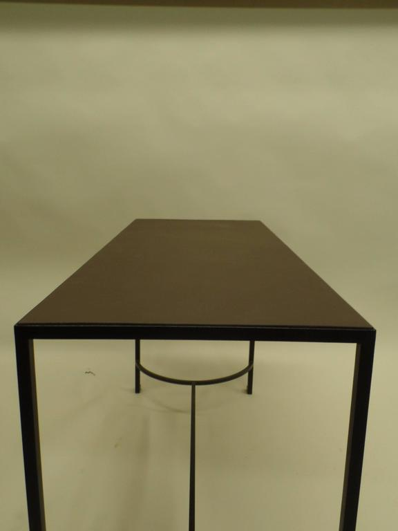 French Mid-Century Modern Iron & Leather Desk / Console Attr. Marc Duplantier For Sale 3