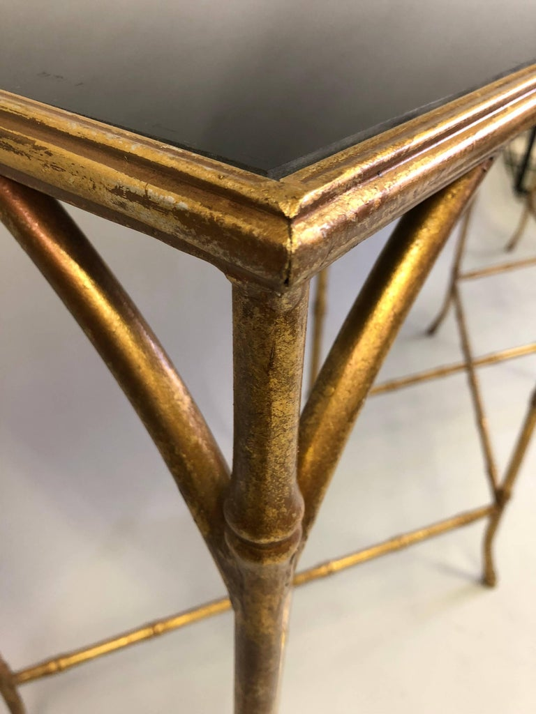 Large French Mid-Century Modern Gilt Iron Faux Bamboo Console, Maison Bagues 7