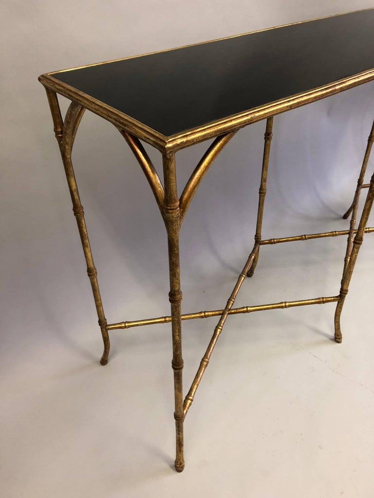 Large French Mid-Century Modern Gilt Iron Faux Bamboo Console, Maison Bagues 6