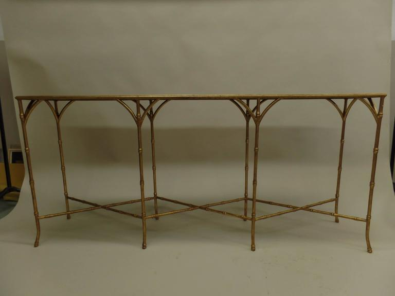 Large French Mid-Century Modern Gilt Iron Faux Bamboo Console, style of Bagues 2