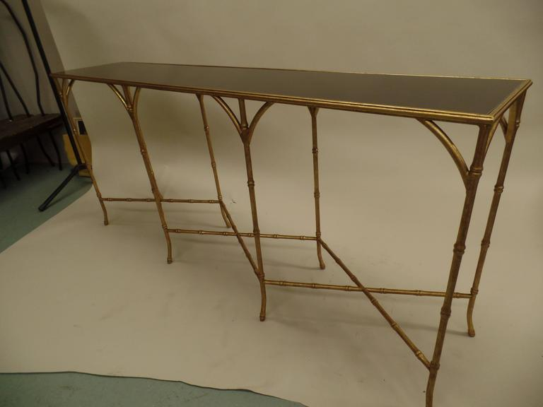 Large French Mid-Century Modern Gilt Iron Faux Bamboo Console, style of Bagues 3