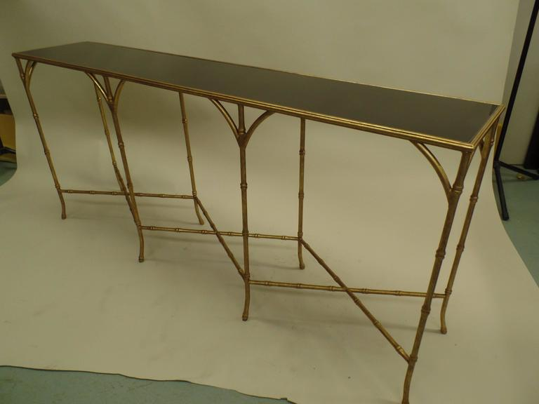 Large French Mid-Century Modern Gilt Iron Faux Bamboo Console, style of Bagues 4