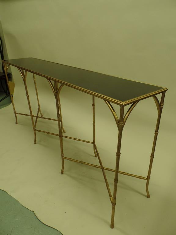 Large French Mid-Century Modern Gilt Iron Faux Bamboo Console, style of Bagues 5