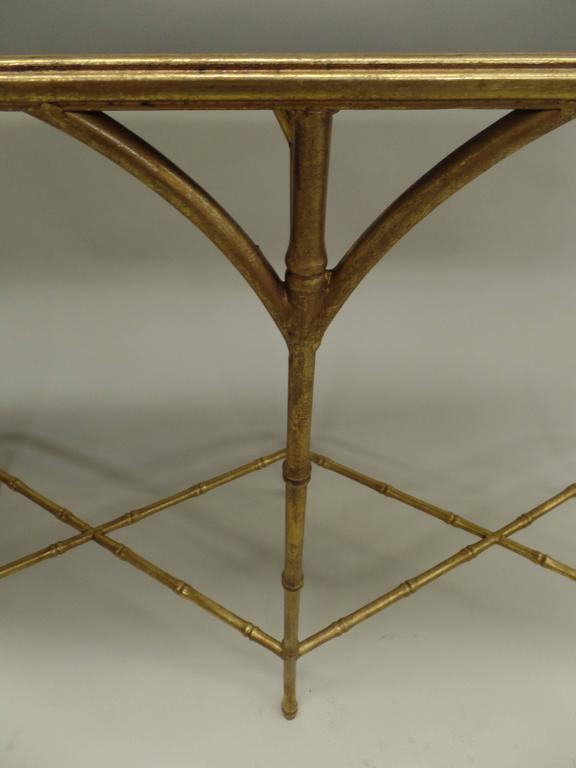 Large French Mid-Century Modern Gilt Iron Faux Bamboo Console, style of Bagues 6