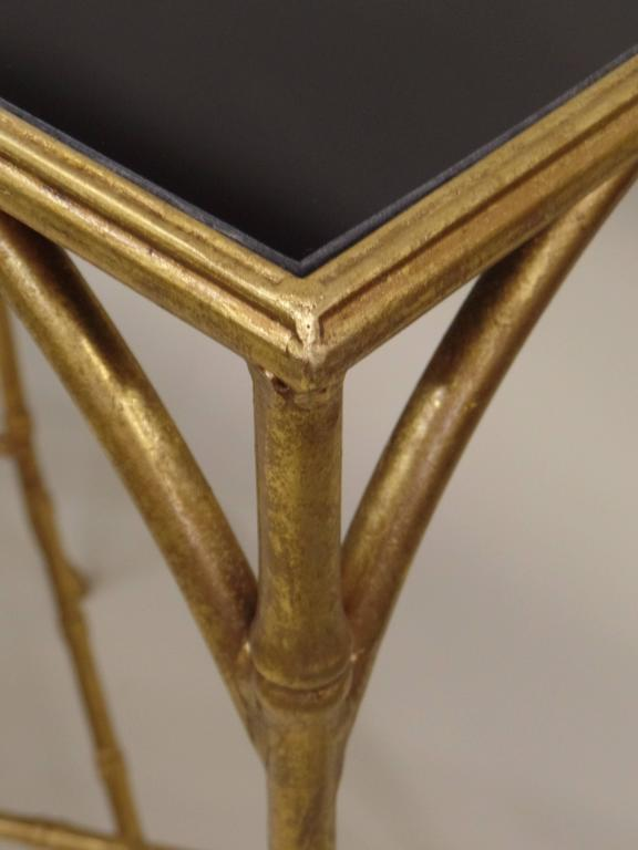 Large French Mid-Century Modern Gilt Iron Faux Bamboo Console, style of Bagues 7