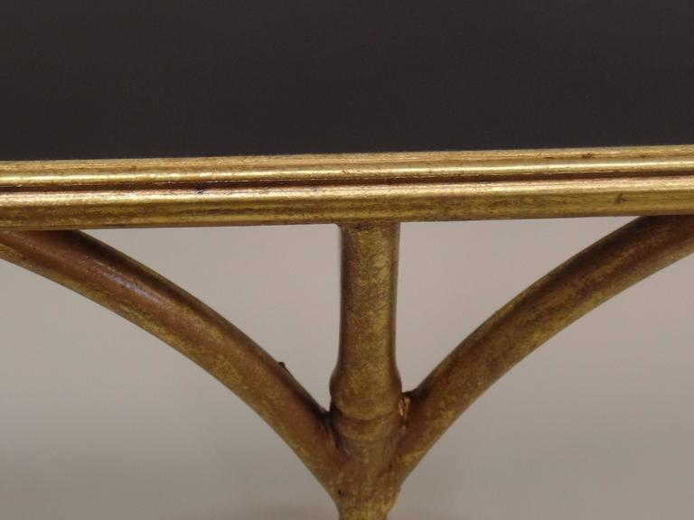 Large French Mid-Century Modern Gilt Iron Faux Bamboo Console, style of Bagues 8