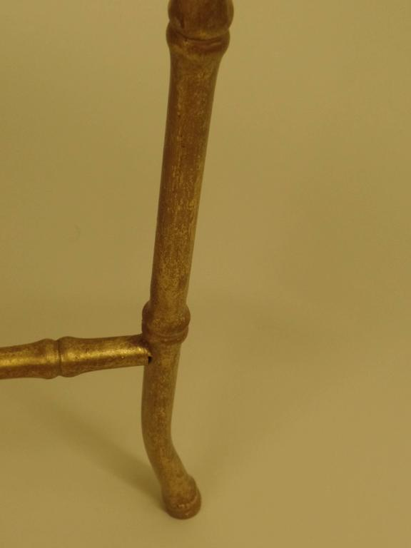 Large French Mid-Century Modern Gilt Iron Faux Bamboo Console, style of Bagues 9
