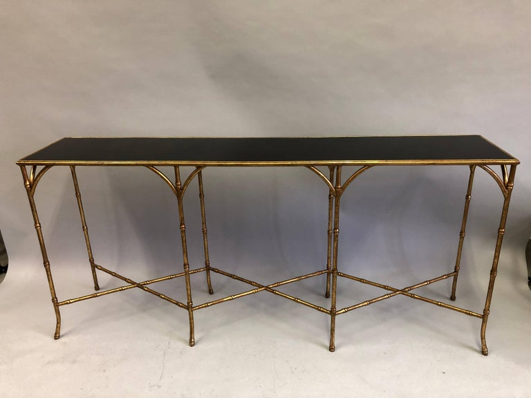 Large French Mid-Century Modern Gilt Iron Faux Bamboo Console, Maison Bagues 3