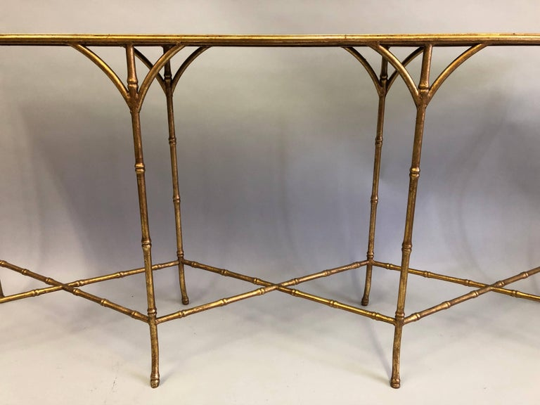 Large French Mid-Century Modern Gilt Iron Faux Bamboo Console, Maison Bagues 5