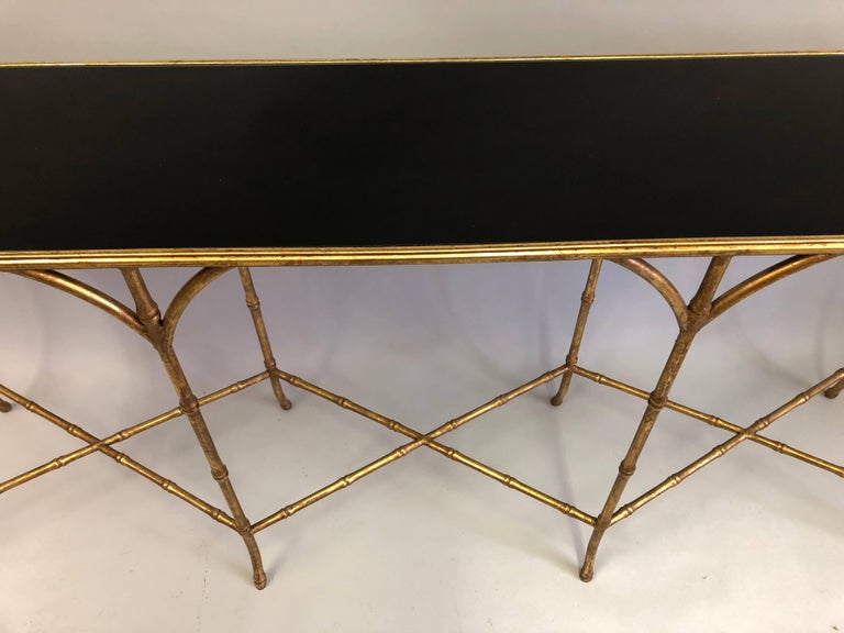 Large French Mid-Century Modern Gilt Iron Faux Bamboo Console, Maison Bagues 4