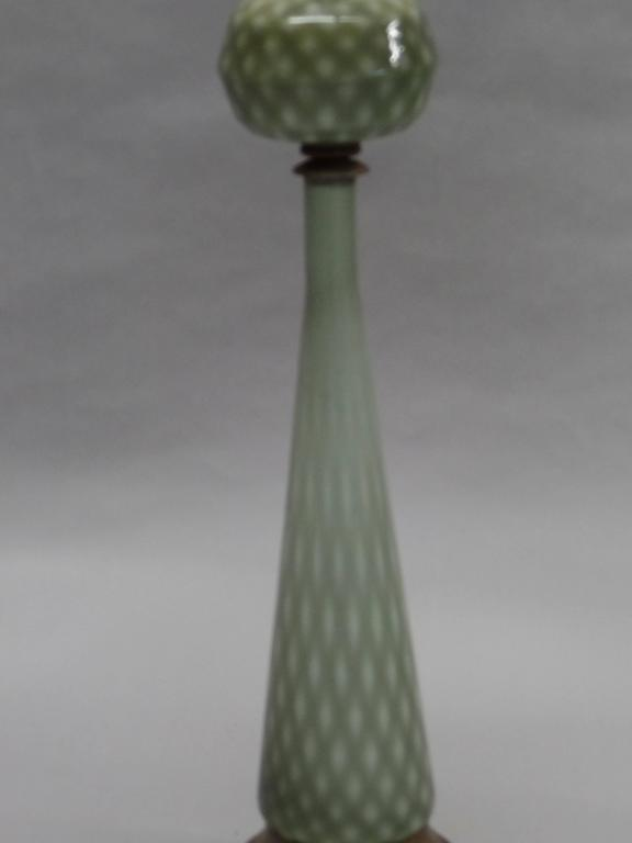 Italian Pair of Large Mid-Century Modern Neoclassical Murano/Venetian Glass Table Lamps For Sale